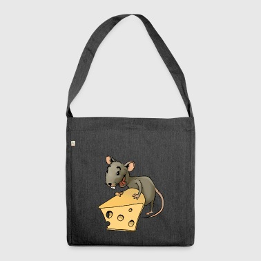 maus mouse cheese kaese animal tiere - Schultertasche aus Recycling-Material