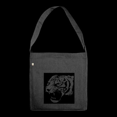 Tiger aggressiv - Schultertasche aus Recycling-Material