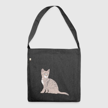 Kitten gray brown gift idea - Shoulder Bag made from recycled material