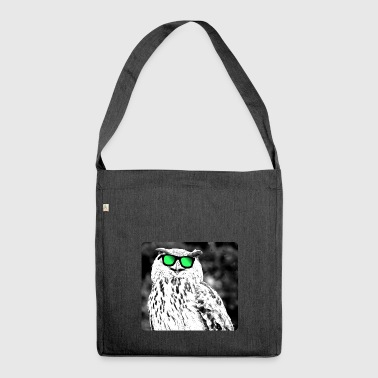 Eule mit cooler Sonnenbrille - Schultertasche aus Recycling-Material