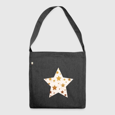 Star with asterisks - gold and grunge white - Shoulder Bag made from recycled material