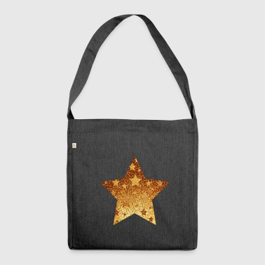 Star with asterisks - gold with gold - Shoulder Bag made from recycled material