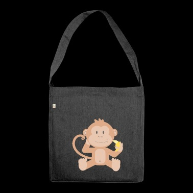 Monkey with banana - Shoulder Bag made from recycled material