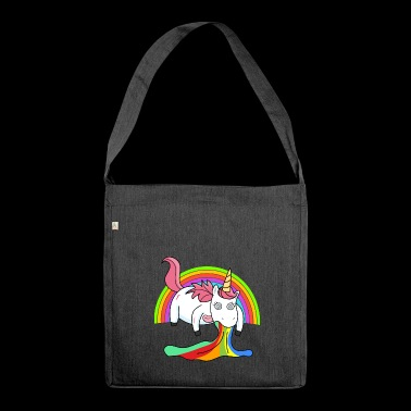 Puking unicorn rainbow - Shoulder Bag made from recycled material