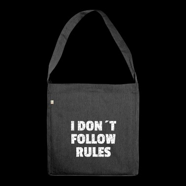 I DON'T FOLLOW RULES white - Shoulder Bag made from recycled material