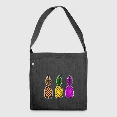 Pineapple Motif Pop Art Gift Idea - Shoulder Bag made from recycled material