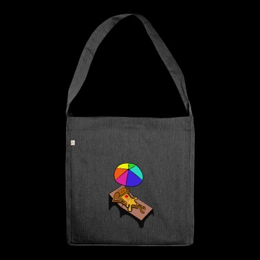 pizza is lying in a deck chair holiday gift - Shoulder Bag made from recycled material
