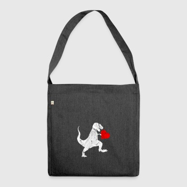 Love T-Rex dinosaur valentines day gift idea - Shoulder Bag made from recycled material