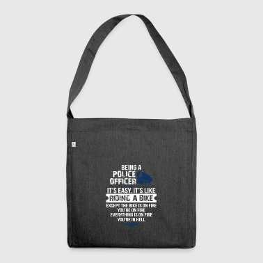 Police Officer Easy Like Riding a Bike Gift - Shoulder Bag made from recycled material
