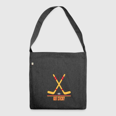 Hockey - hockey stick and puck - Shoulder Bag made from recycled material