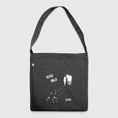 nerver walk alone woman & horse - Shoulder Bag made from recycled material