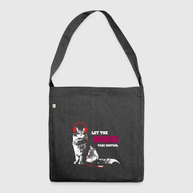 Music control - cat - headphones - Shoulder Bag made from recycled material