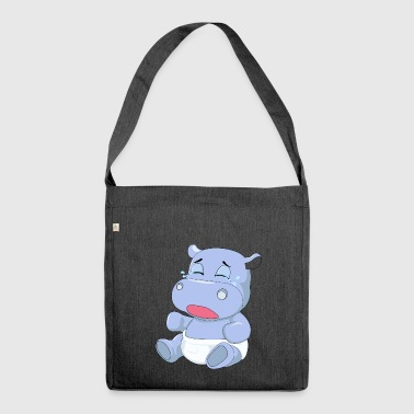 Baby Hippo Crying - Shoulder Bag made from recycled material