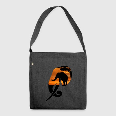 Elephant Safari Scene Head - Shoulder Bag made from recycled material