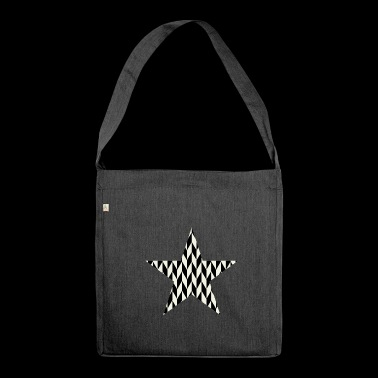 Black - white art - deco star - Shoulder Bag made from recycled material