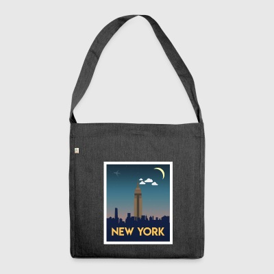New York Empire Skyline Nachts - Schultertasche aus Recycling-Material