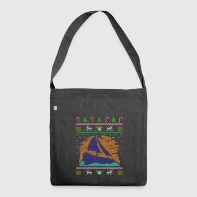 Sailing Sailboat Ugly Christmas Sweater Gift - Shoulder Bag made from recycled material