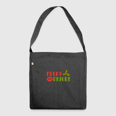 Merry And Bright Mistletoe Christmas Greetings - Shoulder Bag made from recycled material