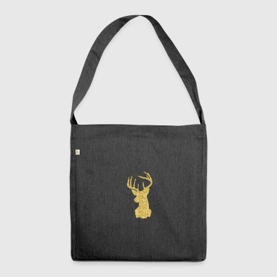 Deer Head Glitter Gold Rudolf Red Nosed Reindeer - Shoulder Bag made from recycled material
