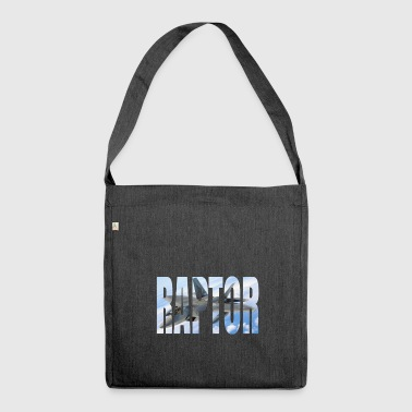 F22 Fighter Raptor photo behind great font - Shoulder Bag made from recycled material