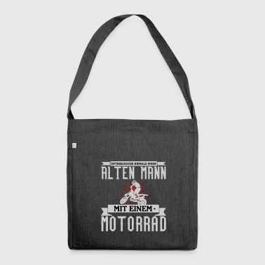 Old man with motorcycle gift idea - Shoulder Bag made from recycled material