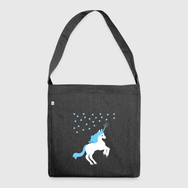 Unicorn blue white with starry sky - Shoulder Bag made from recycled material