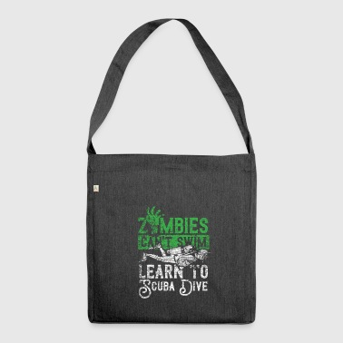 Zombie can not swim Learn to dive vintage - Shoulder Bag made from recycled material