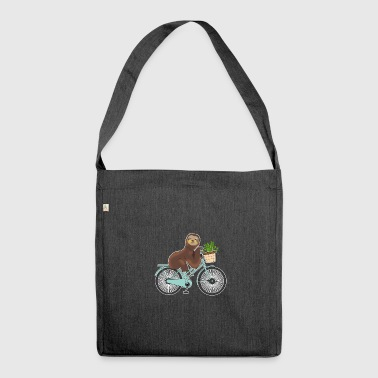 Sloth on bike girl kawaii gift animals - Shoulder Bag made from recycled material