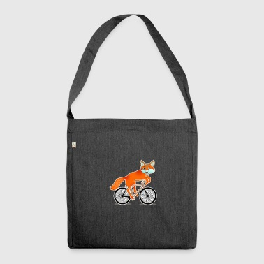 Fox on bike girl kawaii gift animals - Shoulder Bag made from recycled material
