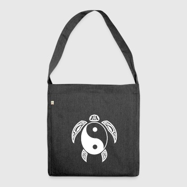 Yin Yang Turtle White Light & Dark Balance Simbolo - Borsa in materiale riciclato
