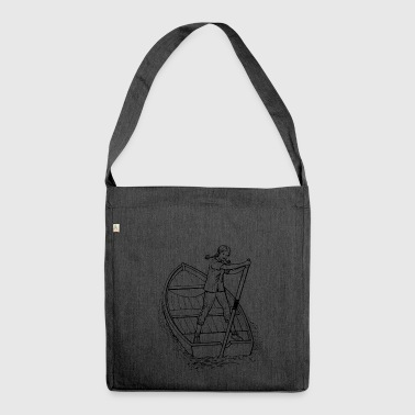 paddle boat sail boat rowing boat sailboat44 - Shoulder Bag made from recycled material