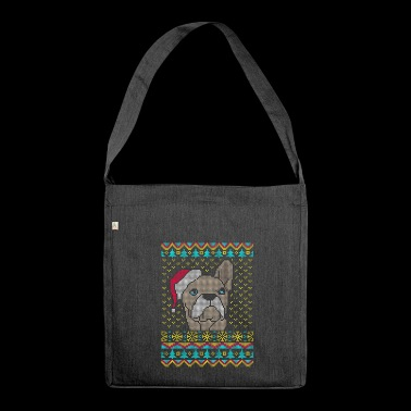 French Bulldog Ugly Christmas Sweater Gesc - Shoulder Bag made from recycled material
