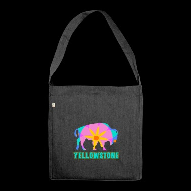 Yellowstone Bison Mandala Art Wildlife Recreation - Shoulder Bag made from recycled material