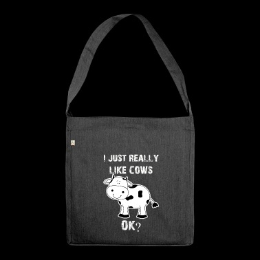 Cow, cows, cow, Cow funny farmer - Shoulder Bag made from recycled material