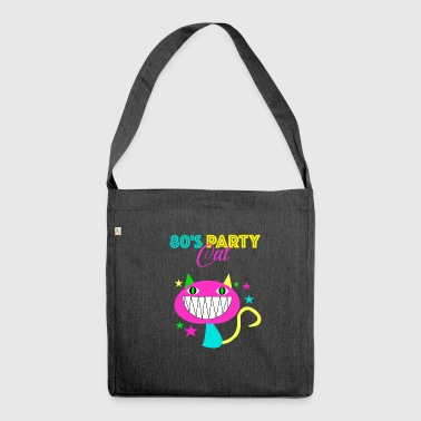 80s party cat 80s cat cadeau retro - Schoudertas van gerecycled materiaal