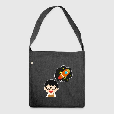 Cartoon boy spaceshuttle dream gift idea - Shoulder Bag made from recycled material