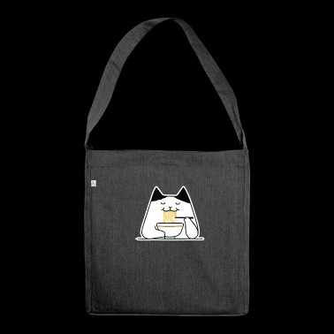 Cat Eating Noodles Gift - Shoulder Bag made from recycled material