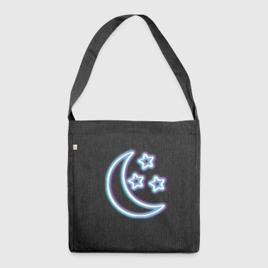 Neon Glow Moon T-Shirt Half Moon Glowing Effect - Shoulder Bag made from recycled material