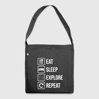 Eat Sleep Explore Repeat Maps - Shoulder Bag made from recycled material