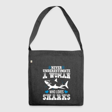 Womens Shark Never Underestimates A Woman Who Lov - Shoulder Bag made from recycled material