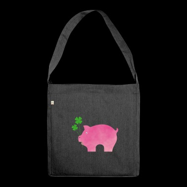 Pigs with clover lucky charm - Shoulder Bag made from recycled material