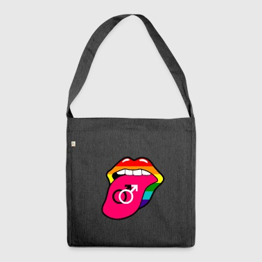 Gay pride rainbow mouth and tongue with gay symbol - Shoulder Bag made from recycled material