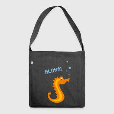 Underwater cartoon character seahorse - Shoulder Bag made from recycled material