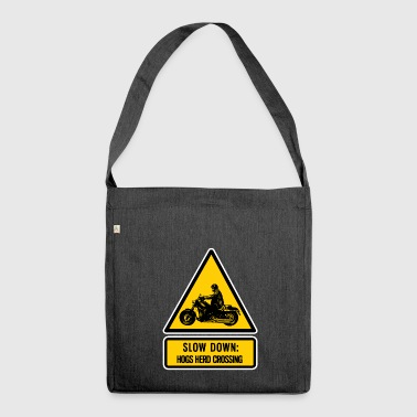 slow down: hogs herd crossing - Shoulder Bag made from recycled material