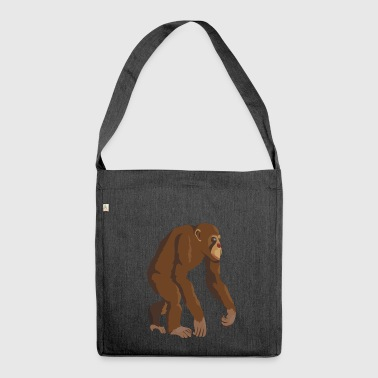 Chimpanzee monkey ape - Shoulder Bag made from recycled material