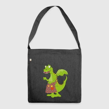 Green Cuisine Dragon Dino Gift Idea - Shoulder Bag made from recycled material