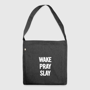 Wake Pray Slay White - Shoulder Bag made from recycled material