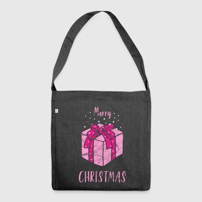 Merry Christmas Gift in Pink - Shoulder Bag made from recycled material
