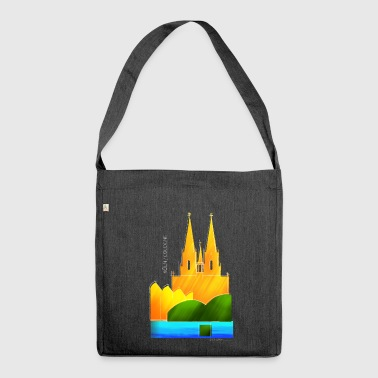 Cologne souvenir motif for dark fabrics - Shoulder Bag made from recycled material