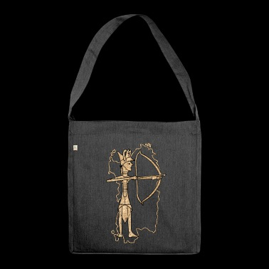 Bronze archer with cork print - Shoulder Bag made from recycled material
